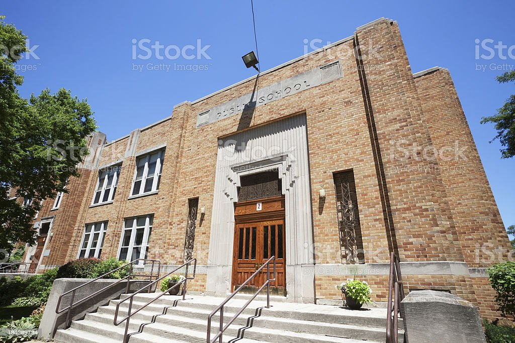 Art Deco School Building in Edgebrook, Chicago stock photo