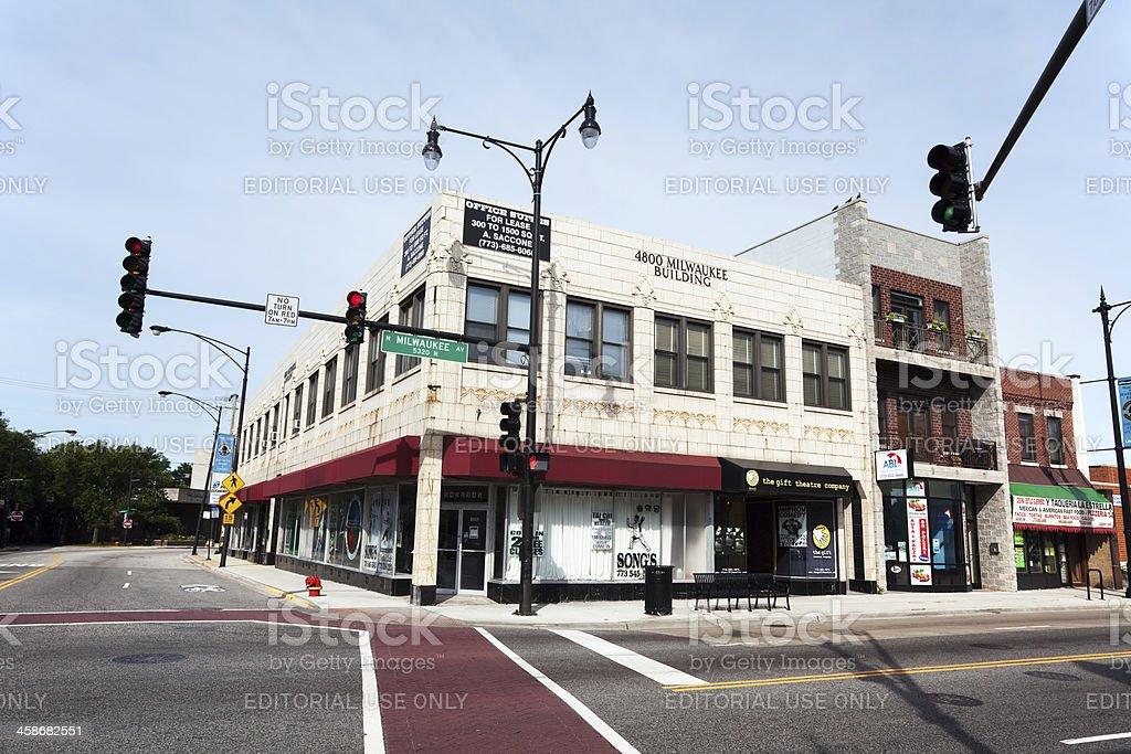 Art Deco Shop in a Chicago Neighborhood stock photo