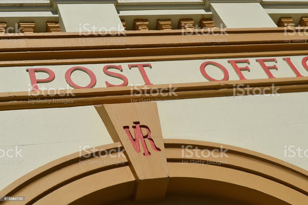 Art deco signage on a country post office in Australia stock photo