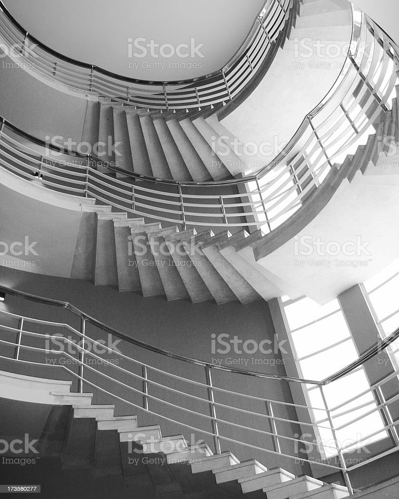 Art deco spial staircase in black and white royalty-free stock photo