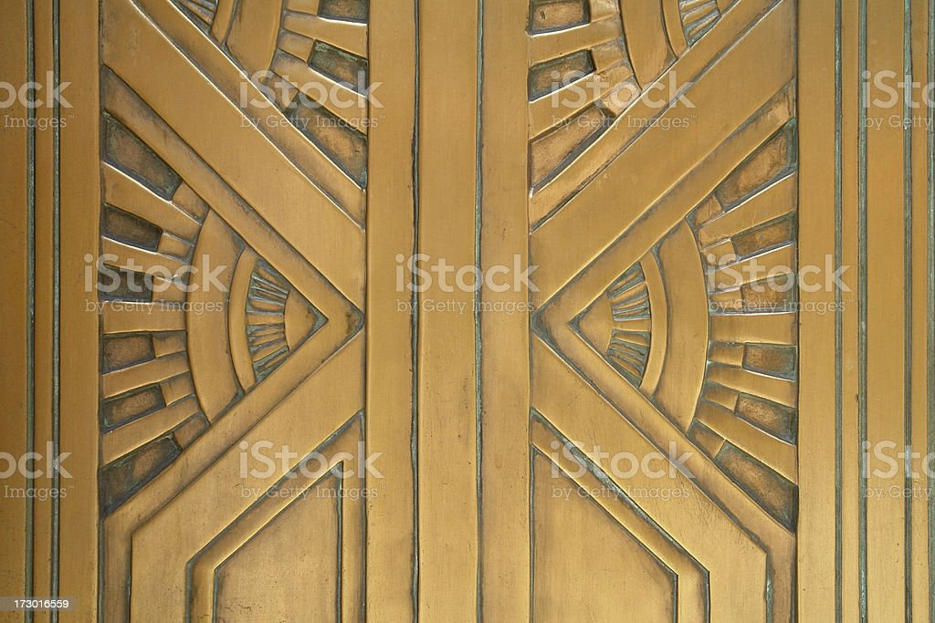 art deco style bronze door detail stock photo
