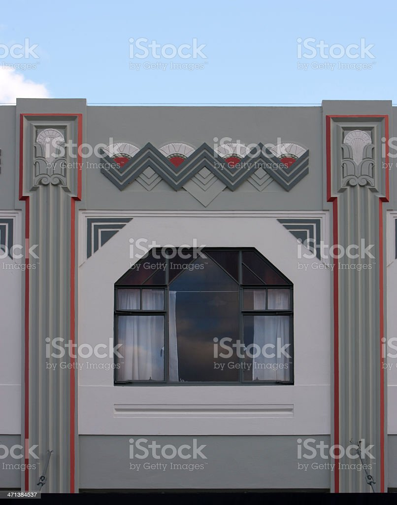 Art Deco Window. Napier, New Zealand stock photo