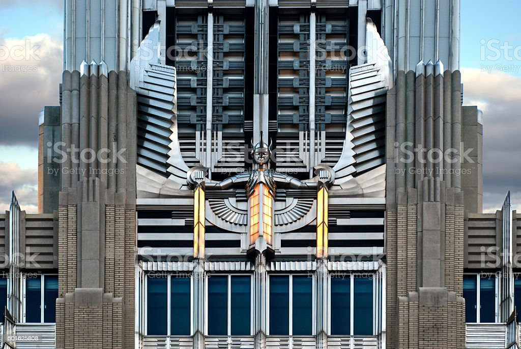 Art Deco Winged Sculpture on Building stock photo
