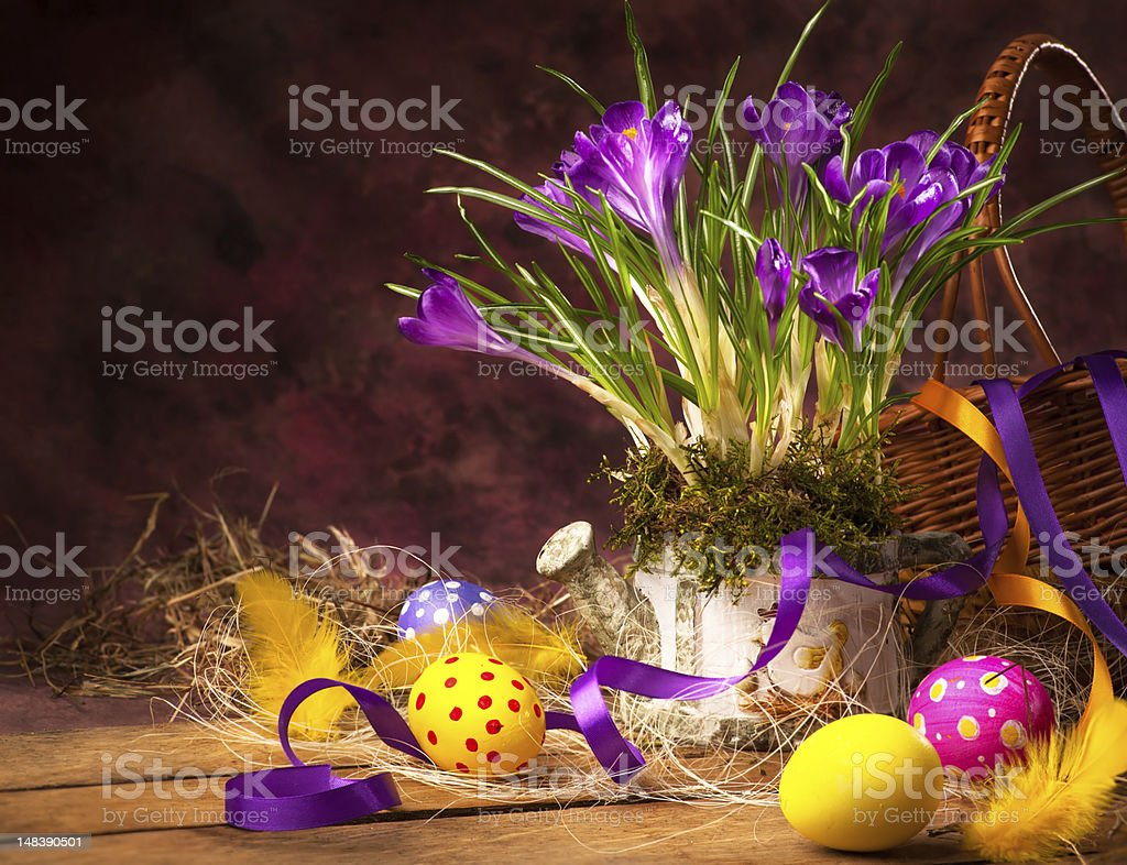 art Easter background with flowers and eggs royalty-free stock photo