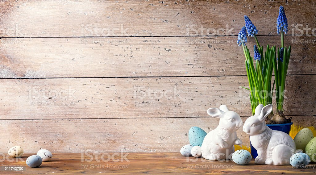 art Easter bunny and Easter eggs stock photo