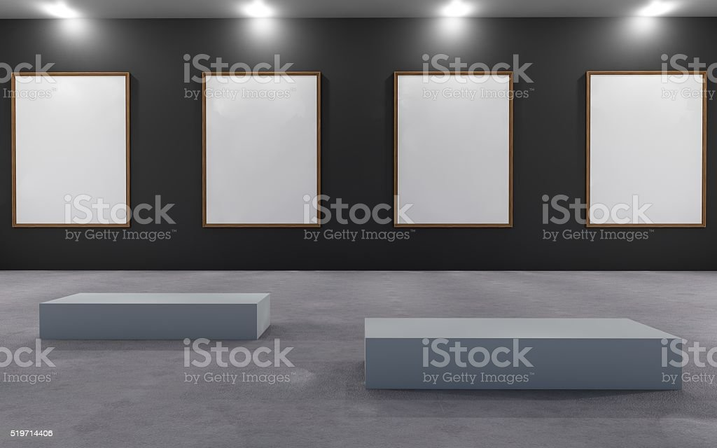 Art Gallery Exhibition blank placard stock photo
