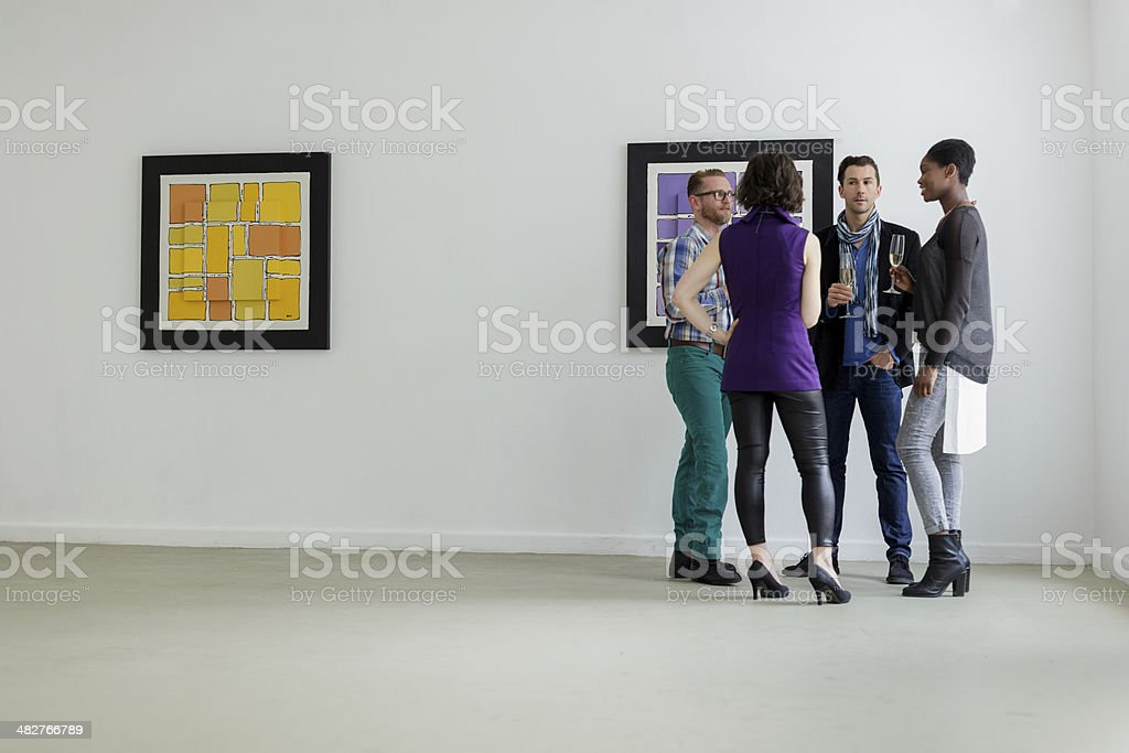 Art gallery reception stock photo