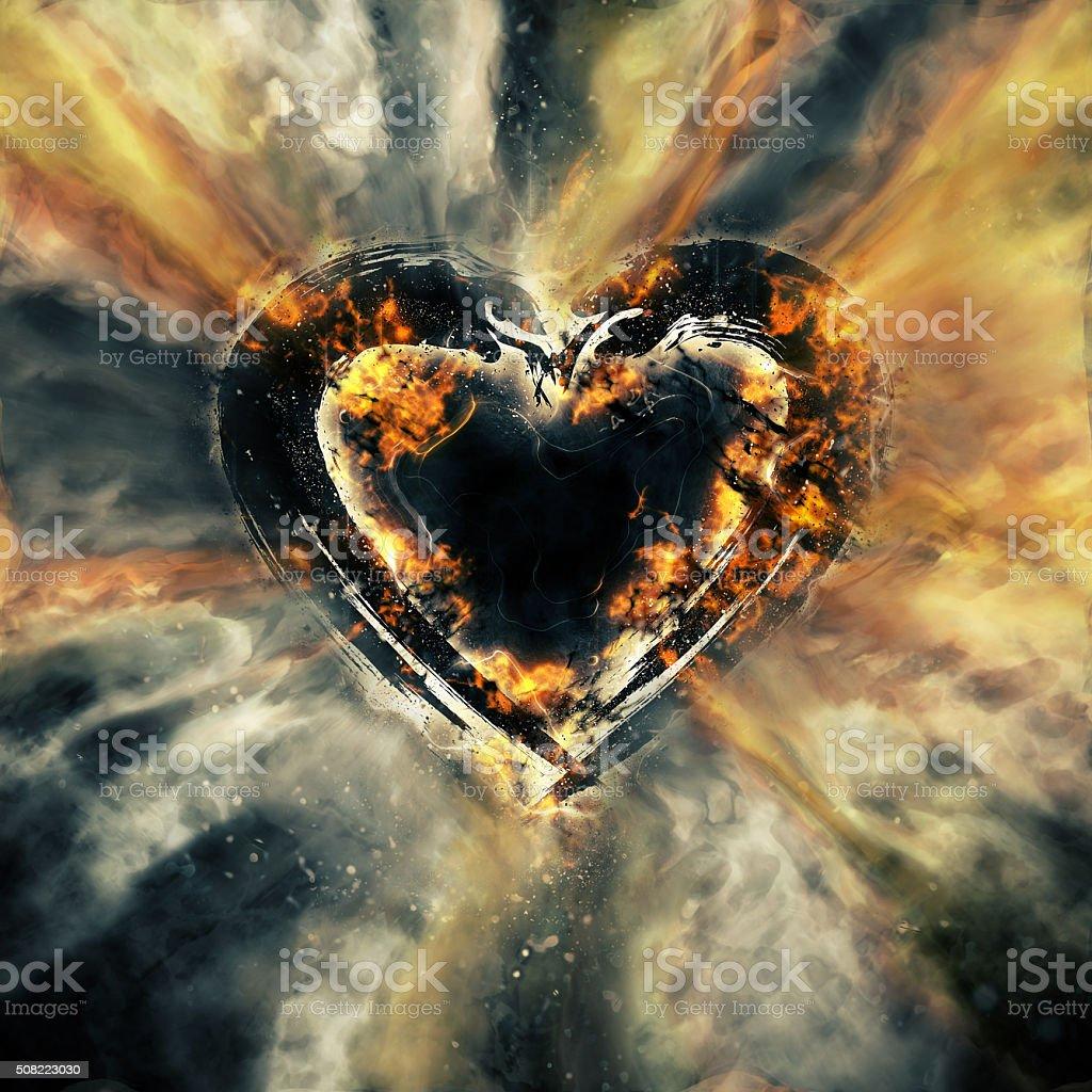 Art heart with smoke stock photo