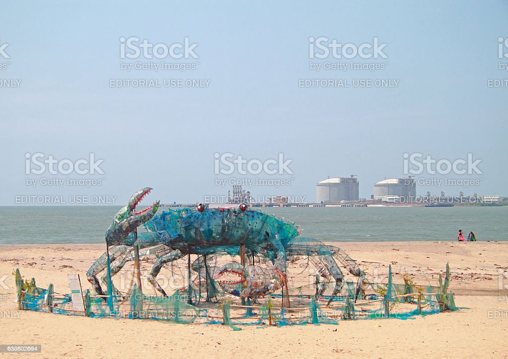 art installation Mad Crab on a beach stock photo