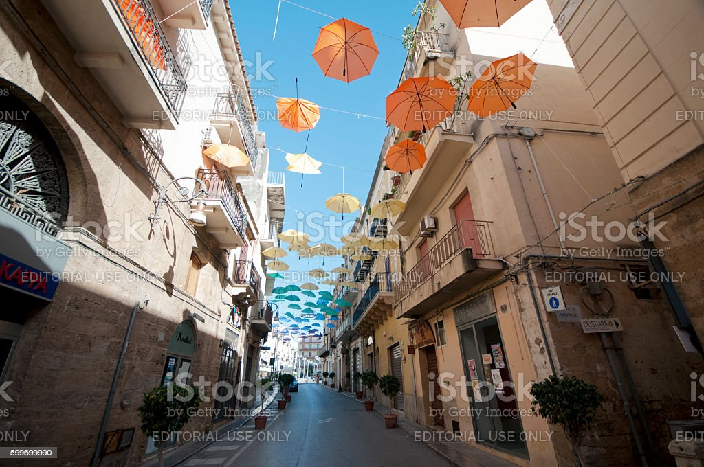 Art installation on the streets of Sciacca stock photo