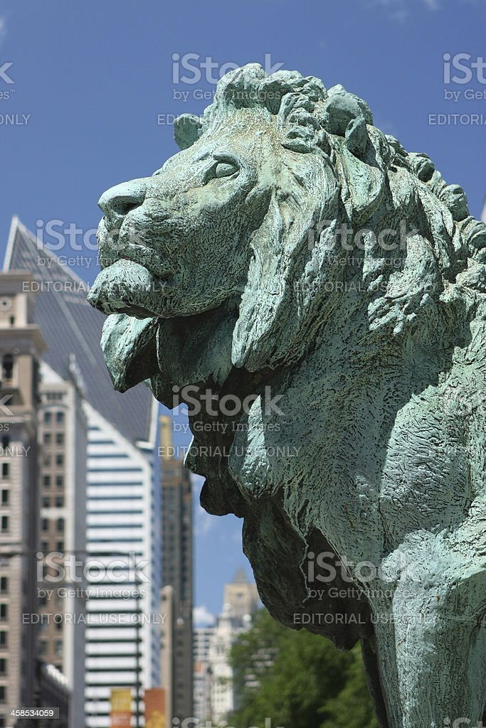 Art Institute of Chicago Lion royalty-free stock photo