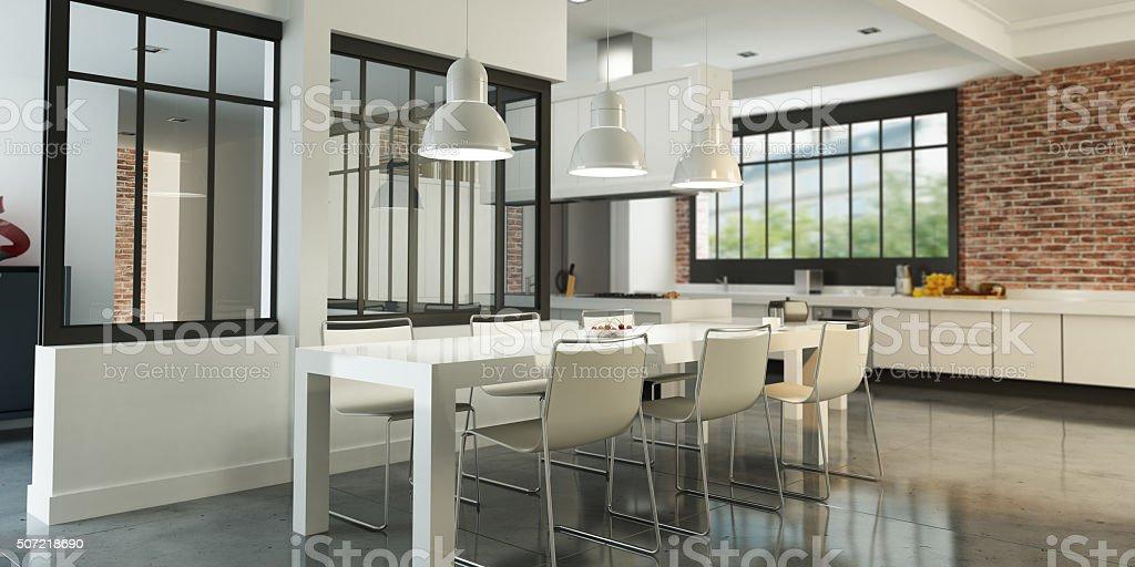 Art loft kitchen stock photo