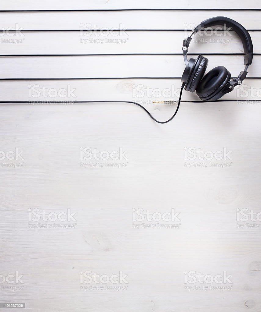 art music studio background with dj  headphones stock photo