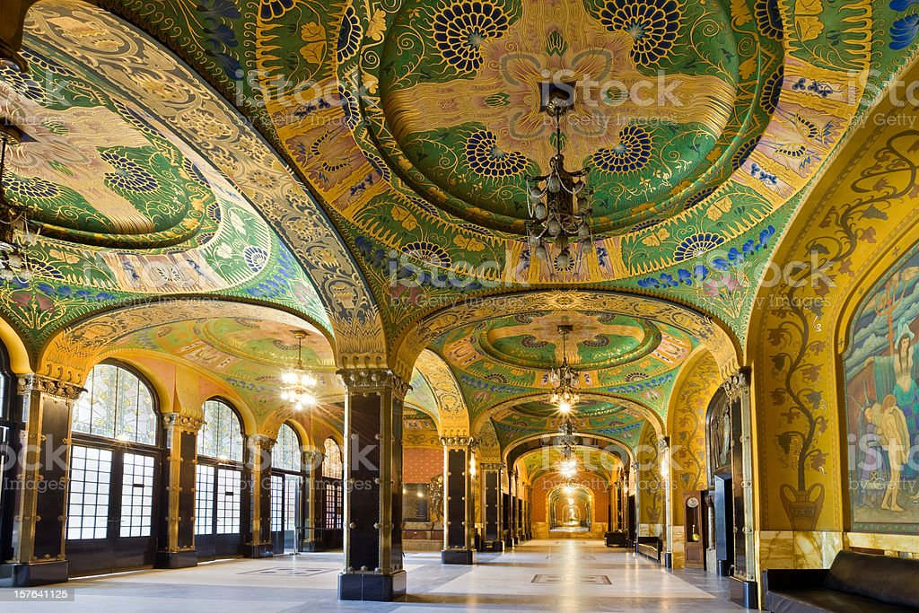 Art Nouveau Architecture Interior Targu Mures Romania Cultural Palace stock photo