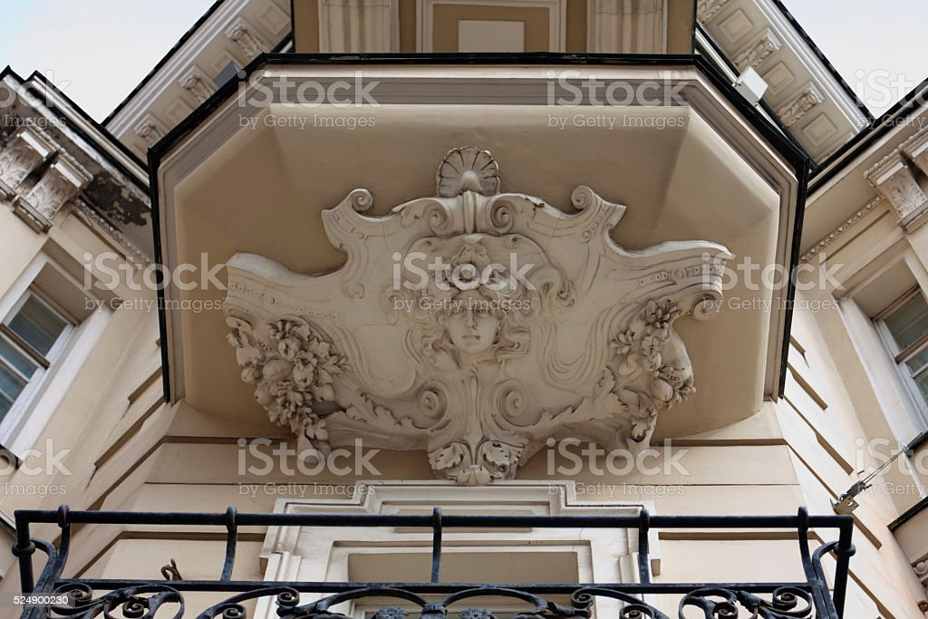 Art Nouveau building facade. Moscow, Russia. stock photo