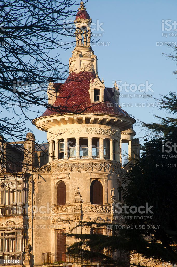 Art nouveau building 'Torre dos Moreno' in Ribadeo, Galicia, Spain. stock photo