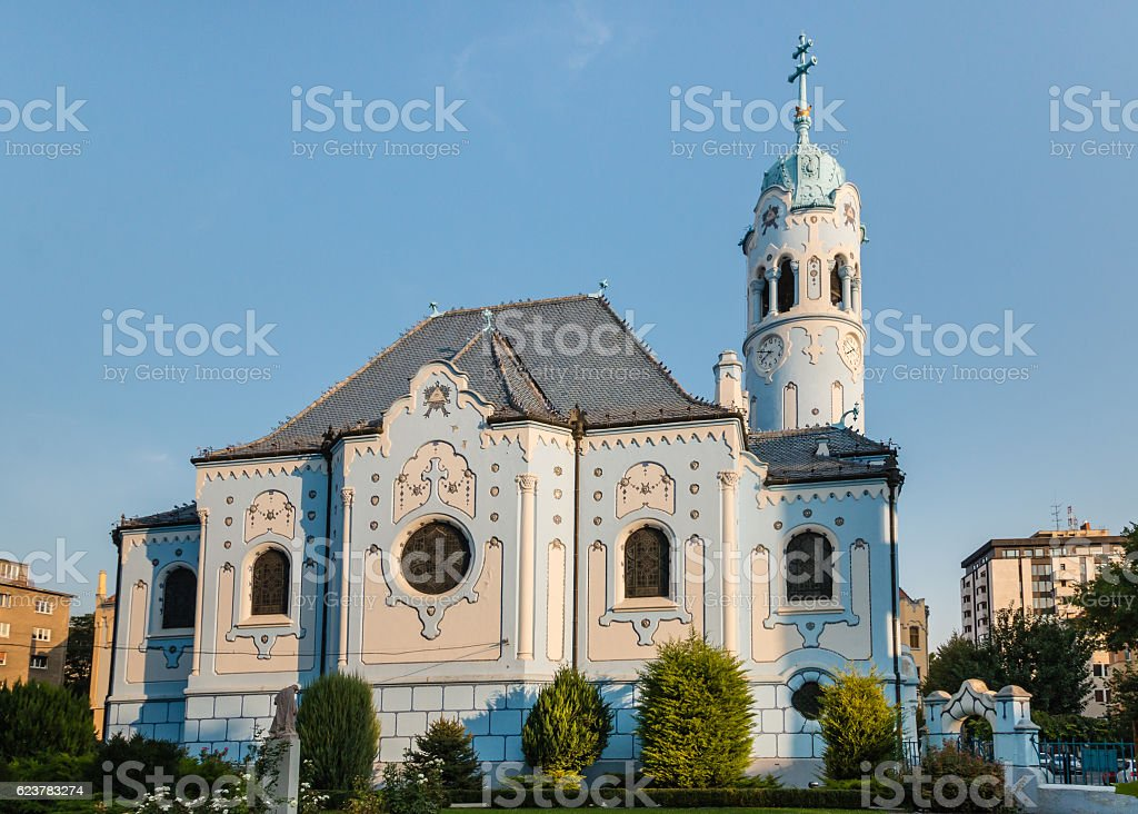 Art Nouveau Church of St. Elizabeth in Bratislava, Slovakia stock photo