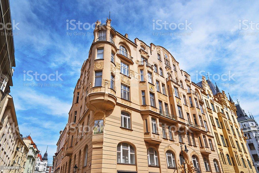 Art Nouveau houses in Prague, Czech Republic royalty-free stock photo