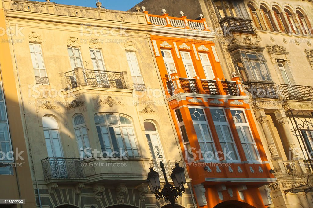 Art nouveau houses in Ribadeo, Galicia, Spain. stock photo
