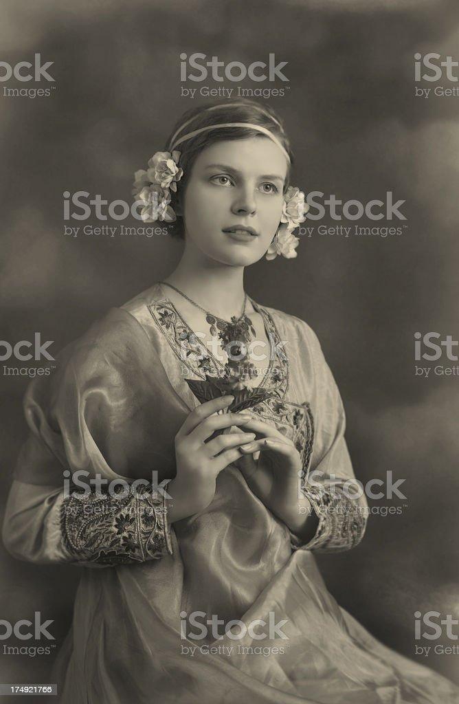 Art Nouveau Old Postcard stock photo