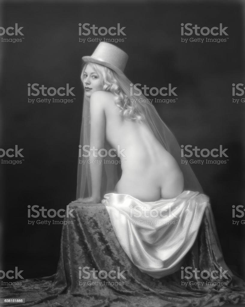 Art nouveau portait of Bride stock photo
