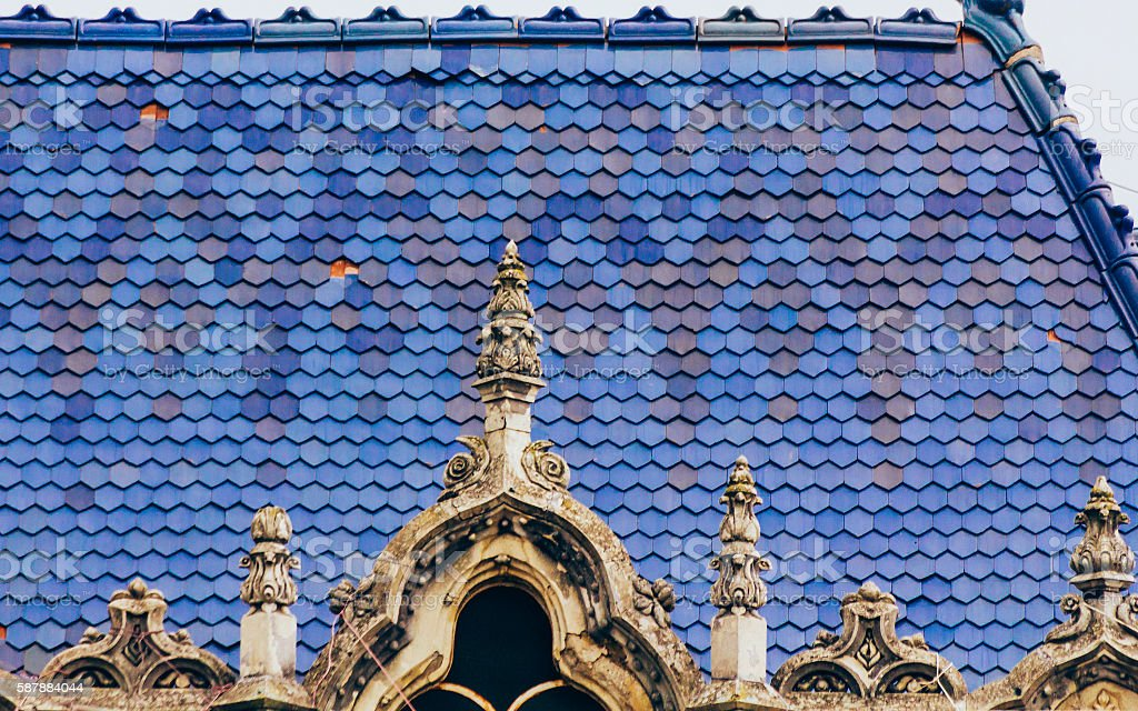 Art nouveau roof stock photo