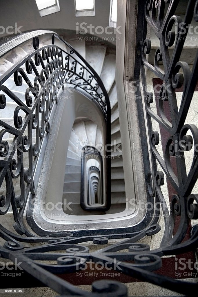 Art nouveau staircase in Buenos Aires stock photo