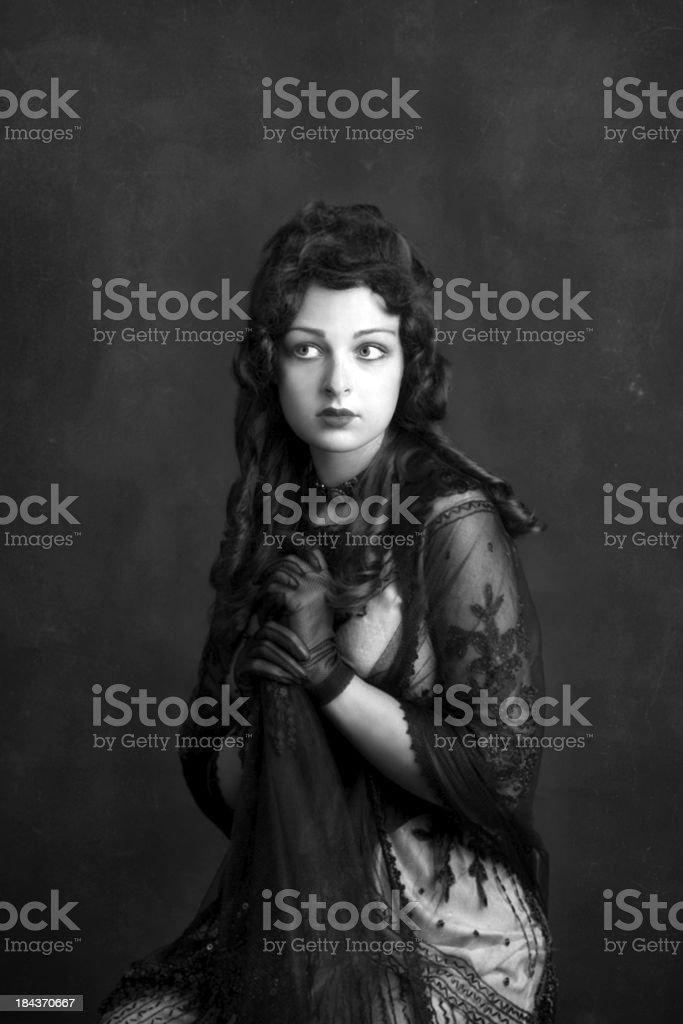 Art Nouveau.Silent cinema actress. stock photo