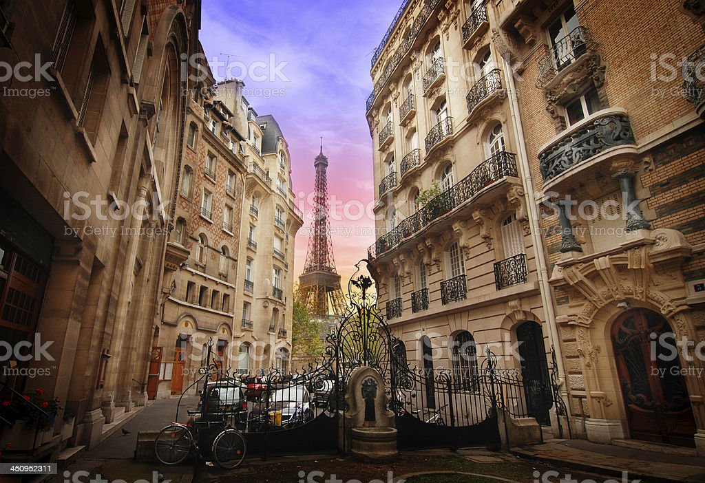 Art nouveax buildings and Eiffel Tower in Paris stock photo