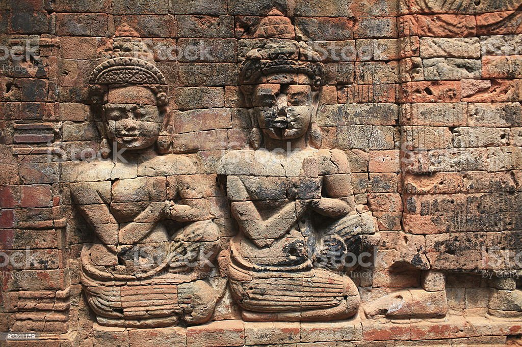 art of brick sculpture stock photo