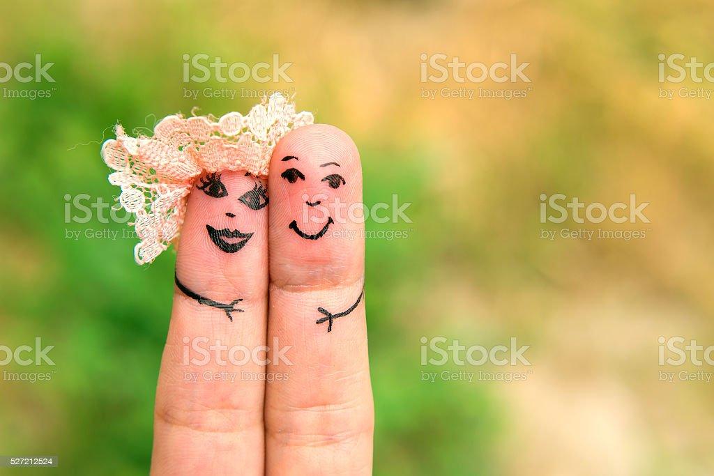 Art of hand. Finger family stock photo