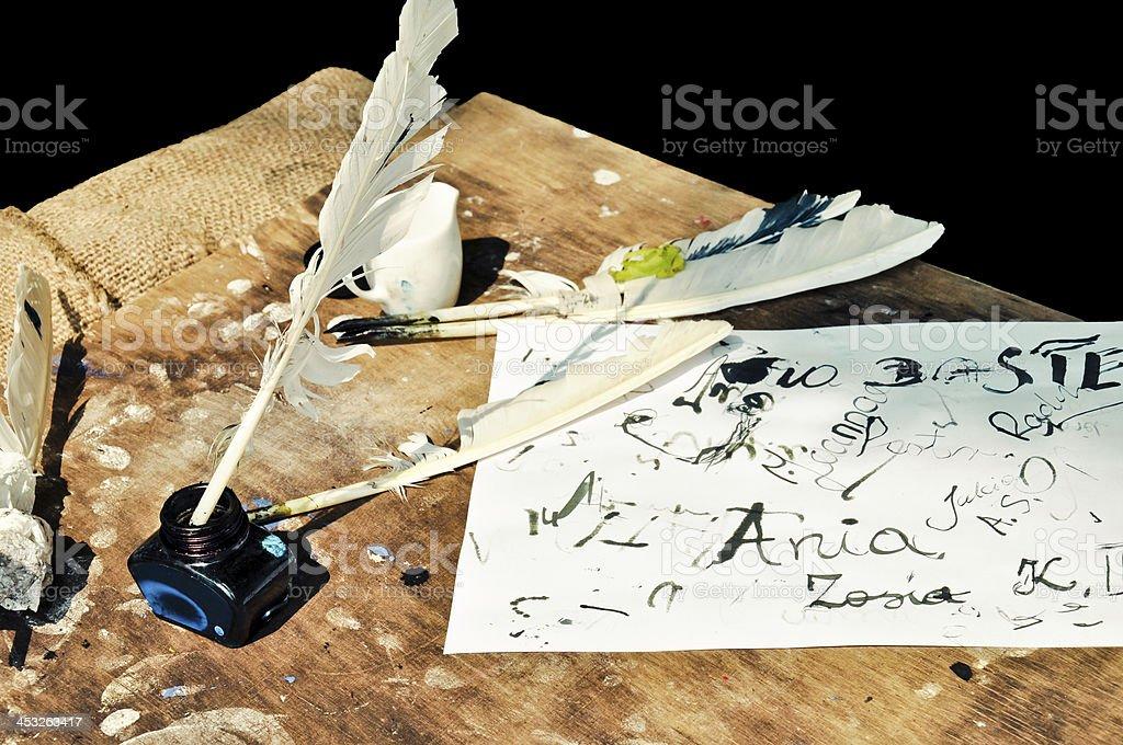 Art des quill Schreiben Lizenzfreies stock-foto