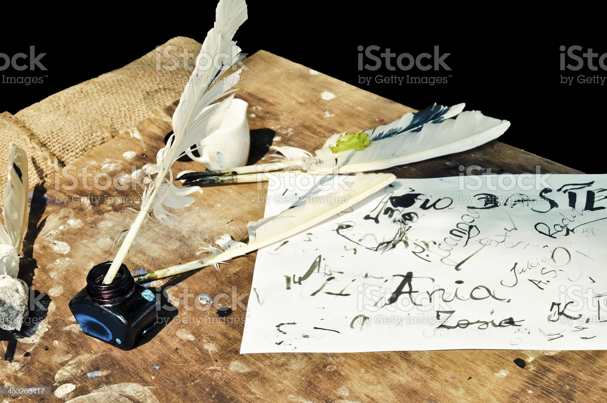 Art of quill writing royalty-free stock photo