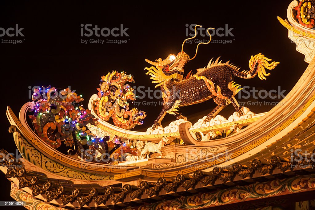 Art of roof on Thien Fah foundation shrine. stock photo