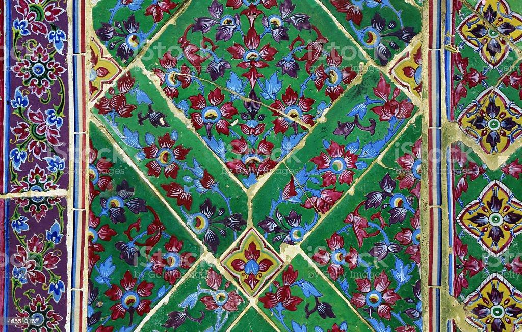 Art of tile in Thai temple stock photo