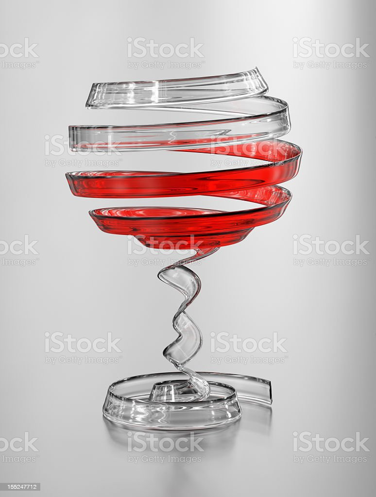 Art of wine, creative abstract crystal wineglass render royalty-free stock photo