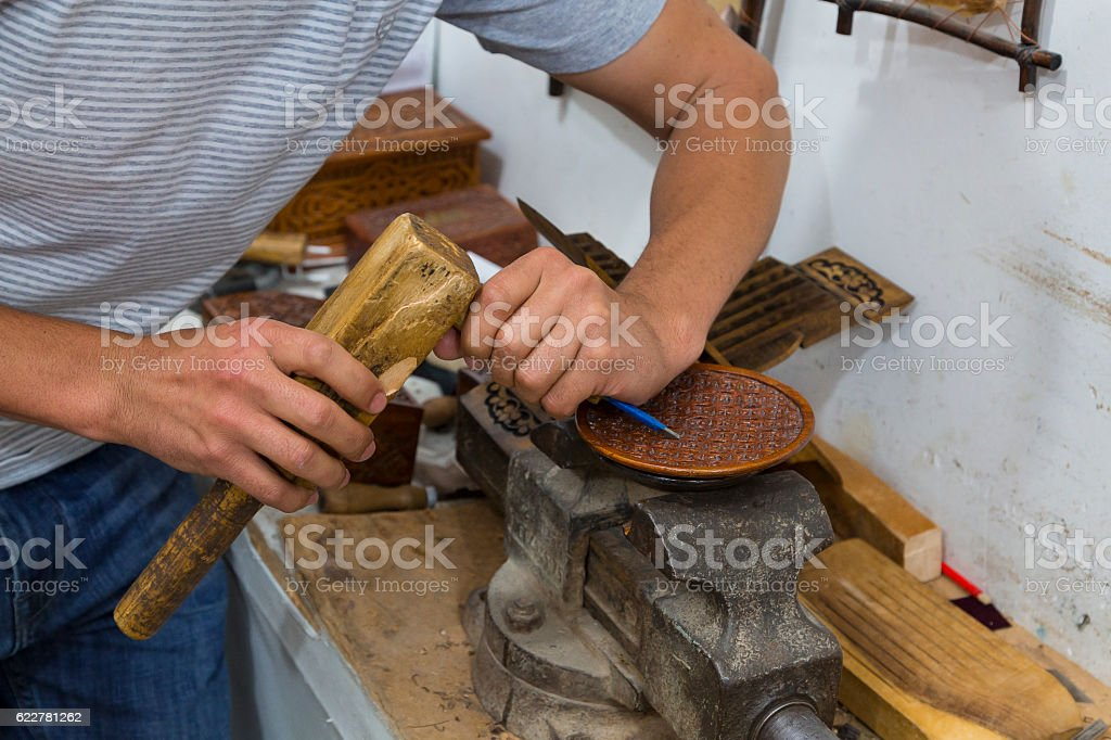 Art of wood carving. stock photo