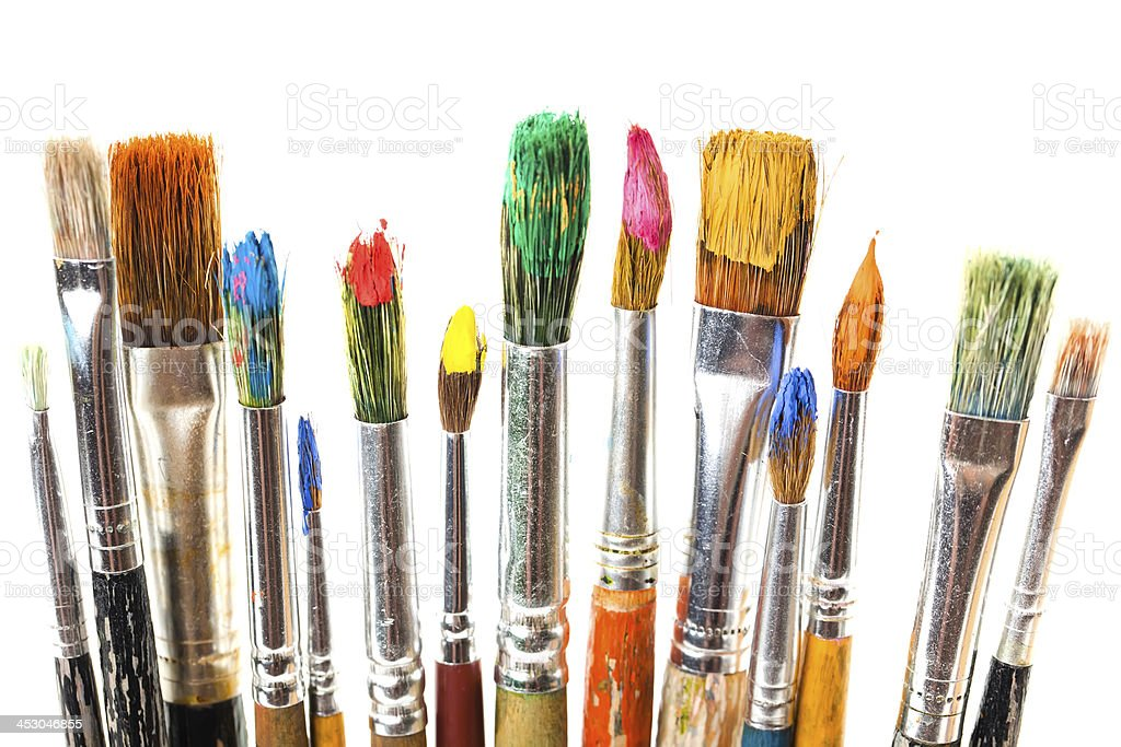 Art oily paint and brushes stock photo