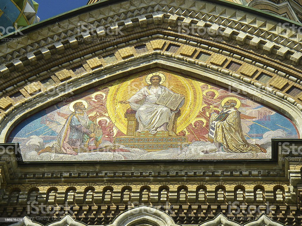 Art on Church of Our Savior the Spilled Blood Russia stock photo