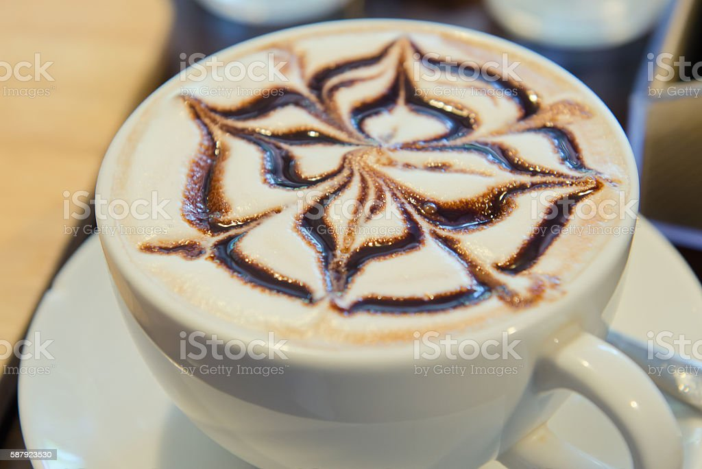 Art on the top cream of hot chocolate or latte stock photo