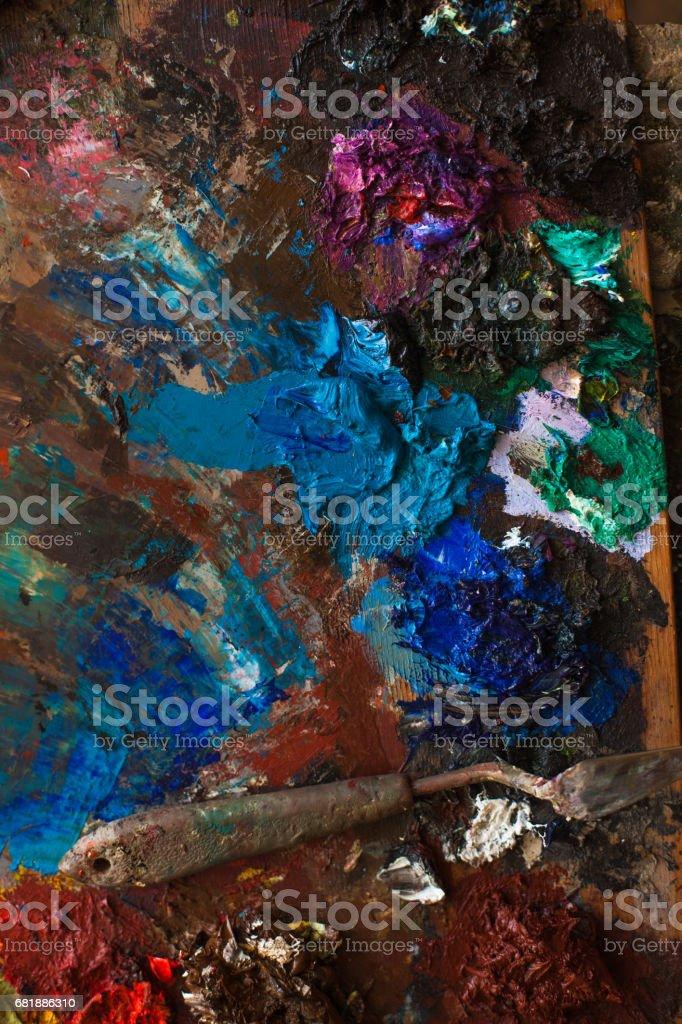 art paints, palette, brushes pencil stock photo