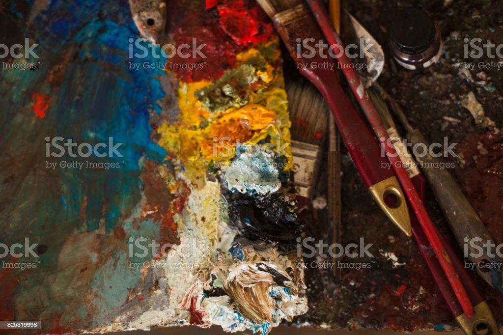 art paints, palette, brushes stock photo