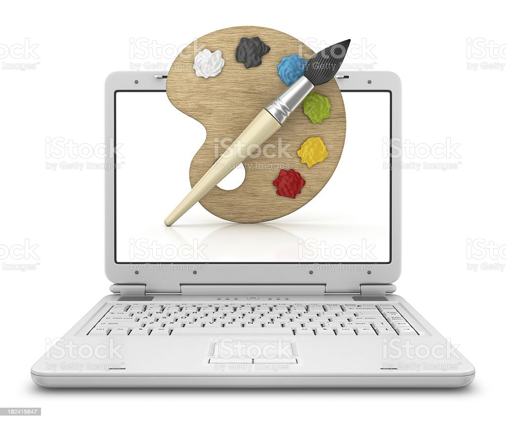 art palette in laptop royalty-free stock photo