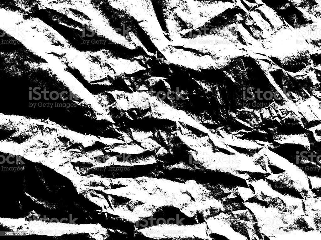 Art paper texture. Unique crumpled black and white paper background. stock photo