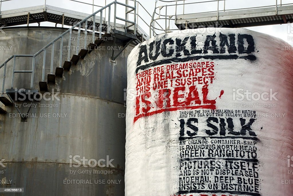 Art Poetry in Silo Park, Auckland's Waterfront Attraction, NZ royalty-free stock photo