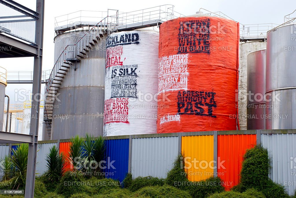 Art Poetry in Silo Park, Auckland's Waterfront Attraction, NZ stock photo