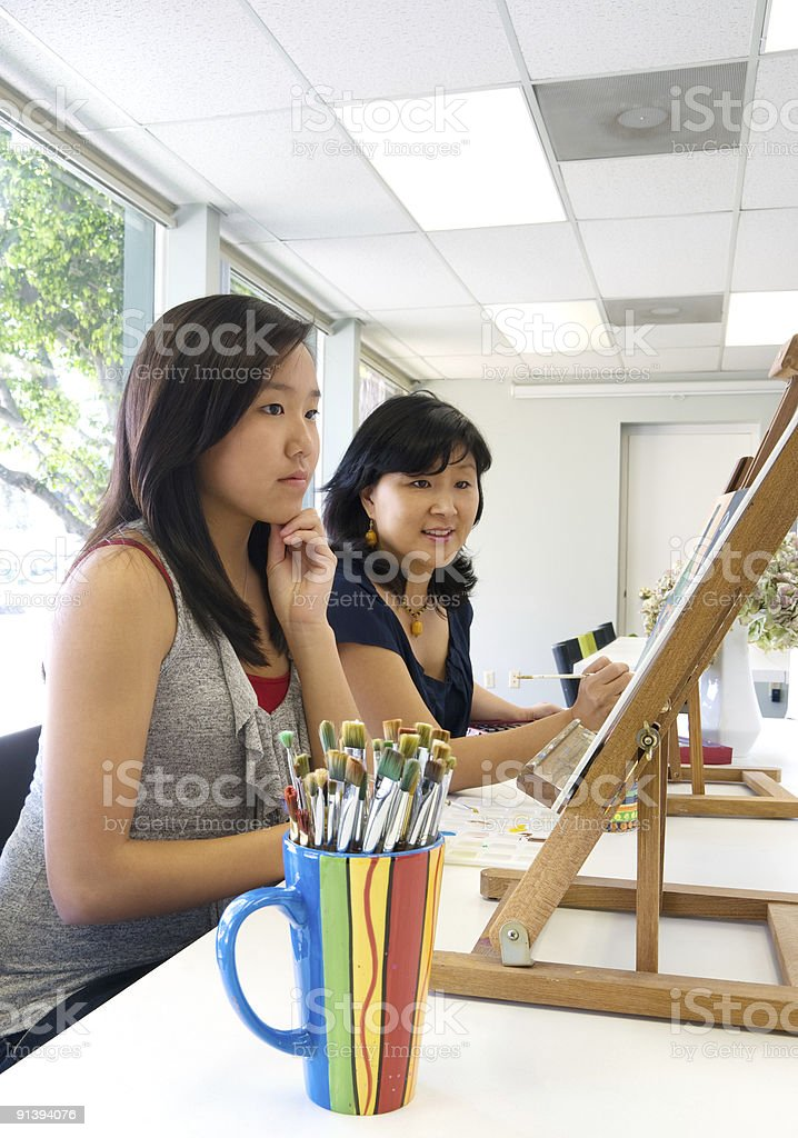Art Project With Student And Teacher royalty-free stock photo