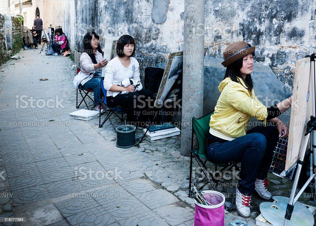 Art students in Hongcun village stock photo