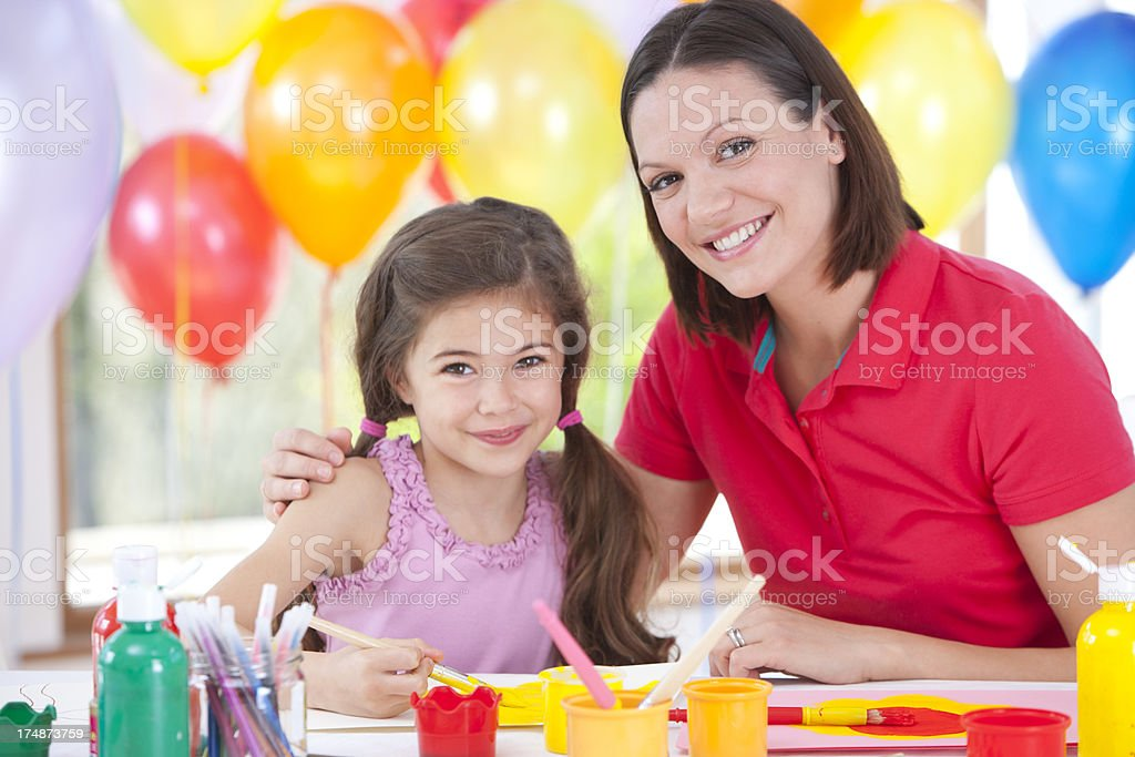 Art Teacher and Student royalty-free stock photo