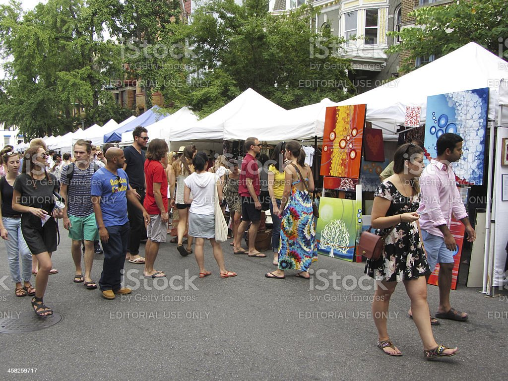 Art Vendors on a Side Street stock photo